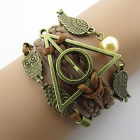 Deathly Hallows + Hedwig + Golden Snitch Tri-Piece Bracelet