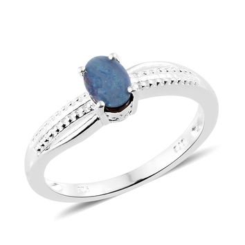 Australian Boulder Opal Sterling Silver Solitaire Ring