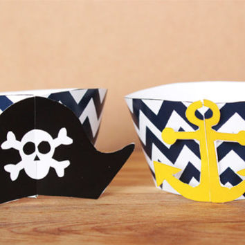 Pirate 3D Cupcake Wrappers – navy blue chevron diy printable party supplies – pirate party wraps for a child's birthday - INSTANT DOWNLOAD