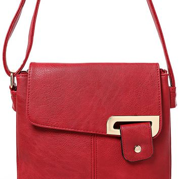 Double Compartment Cross Body Bag in Red