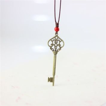 1pcs New Fashion Jewelry Love Key Simple Ceramic Necklaces Women's Coin Wood Collar Stone Boho Necklace Pendant