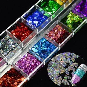 1Box Laser Nail Glitter Sequins Rhombus Paillette Decor 12 Colors Mixed Nail Art Decorations Shiny Accessories DIY Nails LALW