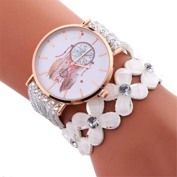 Xiniu Fashion Dress Watches For Women Rhinestones Floral Bracelet Dreamcatcher Pattern Quartz Wrist Watch relogio feminino Clock