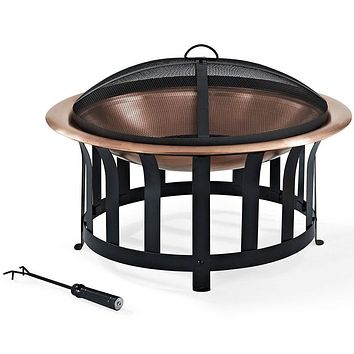 Oversized Copper Bowl Fire Pit with Black Steel Frame Poker & Spark Screen