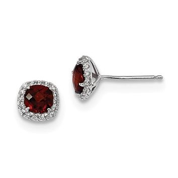 Sterling Silver Cushion Garnet & Created White Sapphire Halo Earrings