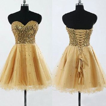 Strapless Gold Sequins Homecoming Dresses,Short Prom Dresses,Hot23