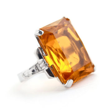 Vintage Sterling Silver Orange Glass Ring -  Size 5 1/2 1950s 1960s Uncas Cocktail Amber Stone Costume Jewelry / Emerald Cut Statement
