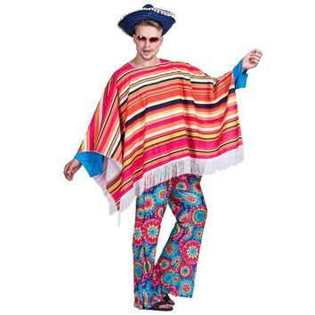 ESBON Men Mexican Poncho Wild West Cowboy Costume Carnival Party Adult Male Bandit Outfits Blanket Clothing Halloween Costumes