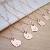 Personalized Necklace - Tiny Initial Necklace - Rose Gold Initial - Heart Necklace - Bridesmaid Necklace - Bridesmaid Gift - Tiny Necklace