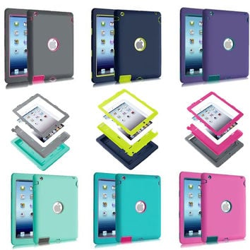 Luxury Heavy Duty Silicone Tablet Case Cover For Apple iPad 2 IPAD 3 IPAD 4 Shockproof Protective Cases A1430 A1403 A1395 A1396