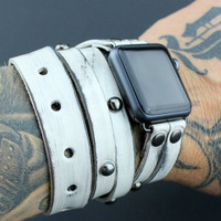 Distressed White Apple Watch Band