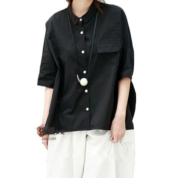 Yesno QO4 Women Tops Blouse Button-Down Shirts Lapel Short Sleeve Flap Pocket