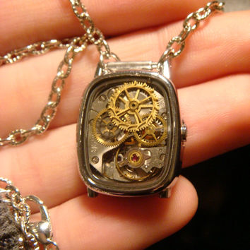 Steampunk Pendant Necklace Made with Pocket Watch Parts and Gears in Watch Case  With Resin (1141)