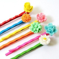 Colorful Bobby Pins Set of Six by NestPrettyThingsKids on Etsy