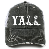Y'ALL Women's Distressed Southern Country Trucker Hat