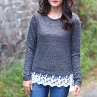 Lovely Lace Sweater {Charcoal}