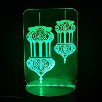 Creative 3D LED Taj Mahal NightLight 7 Color Changing Mood Table Lamp Home Decor Islam God Allah Bless Arabic Light Fixture Gift