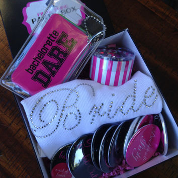 Bachelorette Party Box - Mini Bachelorette Party Pack, Hens Night, Bachelorette Party Kit, Final Fling, Game,Wine Charms,Tank Tops,Buttons