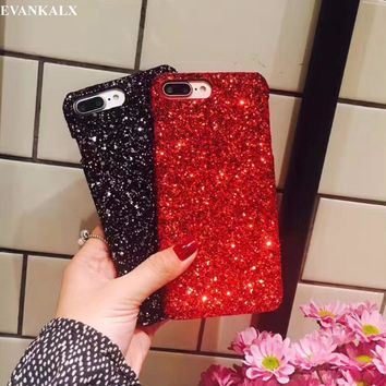 EVANKALX Glitter Case For iPhone 6s 6 Plus Shining Flash Powder Hard PC Cover Protective back Shell  For iPhone 7 6 6s 7 8 Plus
