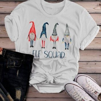 Women's Elf Squad Shirt Christmas Shirts Elf Outfit Idea Nordic Elves Shirt Hand Illustrated Graphic Tee