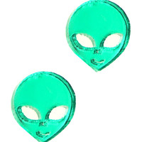 AYY LMAO ALIEN FACE HEAD STUD EARRINGS