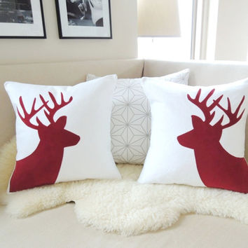 Holiday Deer Pillow Cover, Christmas Red Corduroy Stag Applique & Snow White, Rustic Modern, Winter Wonderland, Woodland Antlers 18x18 20x20