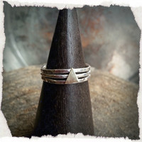 Set of 3 Sterling Silver Stacking Rings with Triangle Detail