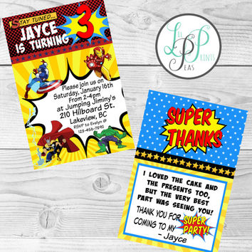 Avengers Invitation, Avengers Printable Invitation, Superhero Birthday Party Supplies, Superhero Invitations, Superhero Party,Thank You Card