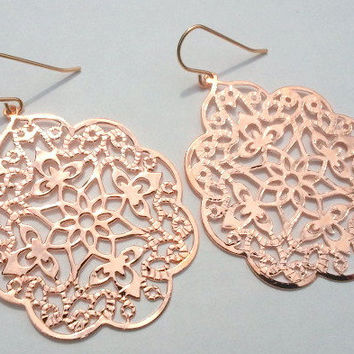 Rose Gold Filigree Earrings, gift, mother, mom, sister, friend, anniversary gift, wedding jewelry, birthday gift, everyday fashion