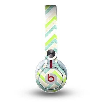 The Vibrant Green Vintage Chevron Pattern Skin for the Beats by Dre Mixr Headphones