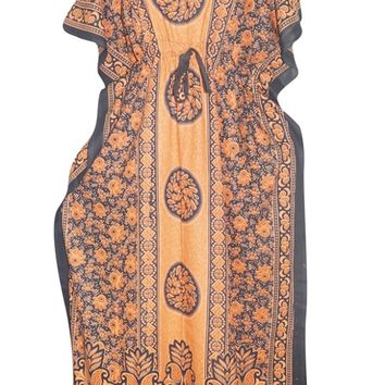 Women's Boho Caftan Orange Printed Cotton Kimono Maxi Kaftan Dress One Size