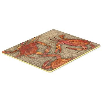 Cooked Crabs on Faux Burlap Kitchen or Bath Mat 24x36