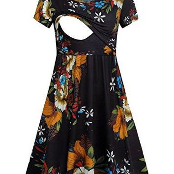 Quinee Womens Floral Short Sleeve Summer Maternity Nursing Breastfeeding Dress
