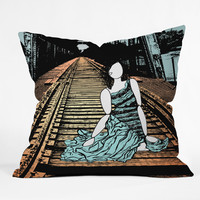 Amy Smith Meet me at the bridge Outdoor Throw Pillow