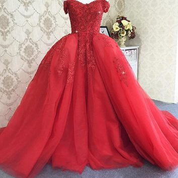 Straps Lace Up Back Red Wedding Dress With Detachable Train