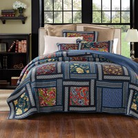 DaDa Bedding Bohemian Floral Midnight Ocean Blue Sea Patchwork Quilted Bedspread Set (JHW-572)