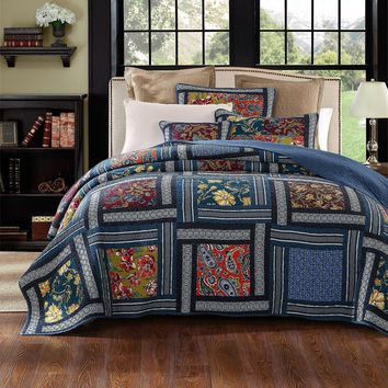DaDa Bedding Bohemian Floral Midnight Ocean Blue Cotton Patchwork Bedspread Set (JHW-572)