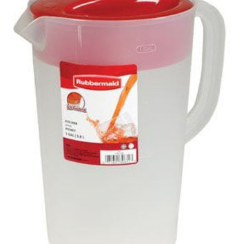 Rubbermaid 3063-RD 1 Gallon Peri Pitcher With White Lid