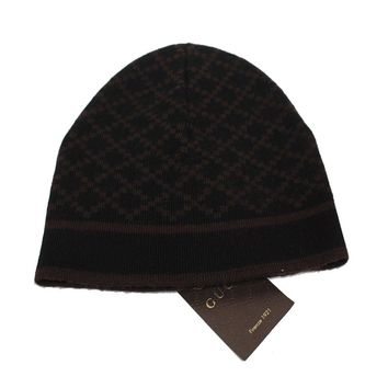 Gucci Men's Wool Diamante Brown Beanie Hat 281600