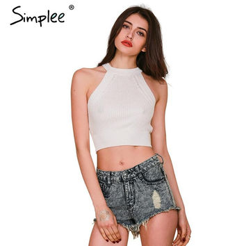 Simplee Apparel Brandy Melville off shoulder knitted bustier crop top Women round neck elastic tube tank tops Beach sexy camis