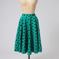 The Green Polkadot Adelaide Skirt by Hell Bunny - Skirts & Petticoats - Clothing