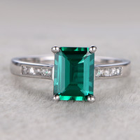6x8mm Emerald Cut Emerald Engagement Ring Diamond Wedding Ring 14k White Gold Halo Channel Set