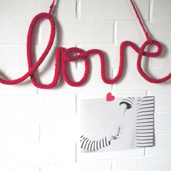 "Crochet Hanging ""LOVE"" Quote - Crochet LOVE Tag - Cursive LOVE Word - Typography Wall decor"