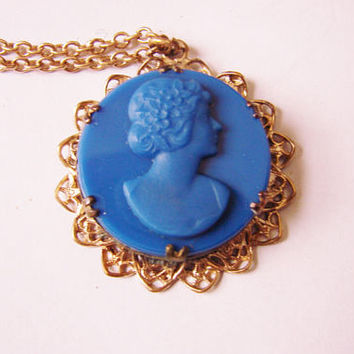Early 20th Century Cobalt Blue Tassie Cameo Pendant Necklace / Filigree / Vintage Jewelry / Jewellery