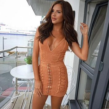 Women's Glam Lace up suede dress deep v neck bodycon sexy short mini dress