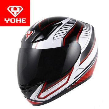 2017 New YOHE full face Motorcycle Helmet Motorbike Racing Helmets made of ABS and PC Lens / visor Model YH-991 size M L XL XXL
