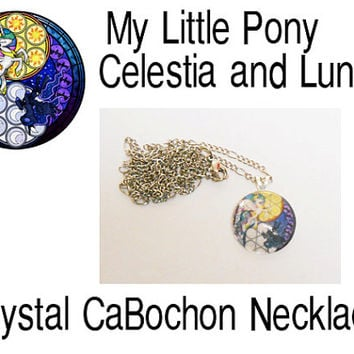 My Little Pony Princess Celestia and Princess Luna Crystal Cabochon Necklace Pendant