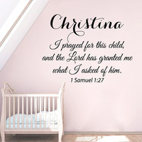 I Prayed For This Child Wall Decal Quote Girl Personalized Name Vinyl Stickers Mural Home Bedroom Interior Design Kids Nursery Decor KI158