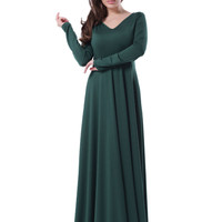 R70343  Unique design women full sleeve party dresses green color o-neck floor length summer sexy dress new long dress