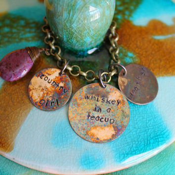 Country Girl Jewelry, Whiskey in a Teacup, Hand Stamped Bracelet